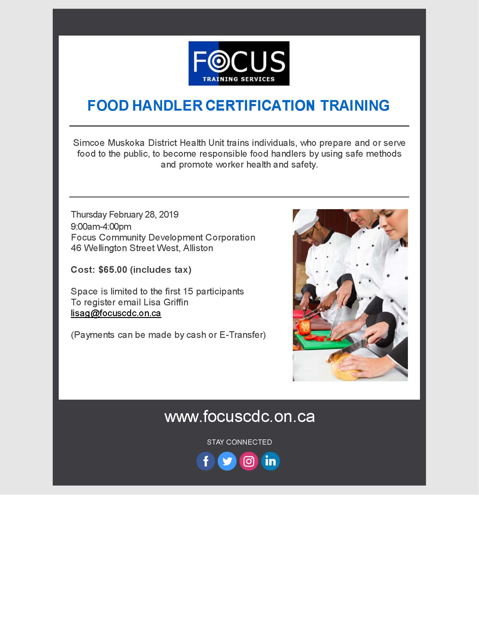 Food Handler Certification Training Feb 28th Focus Community
