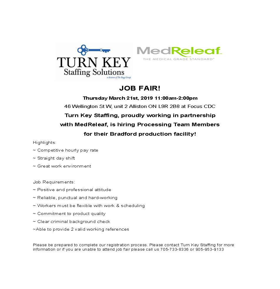 Job Fair Ad Medreleaf - Alliston